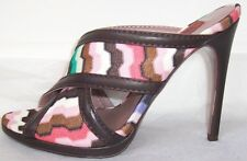 MISSONI Zig Zag Print Brown Leather Slides Sandals Shoes 35  5