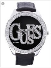 Guess Black Leather Band Watch U85077l2
