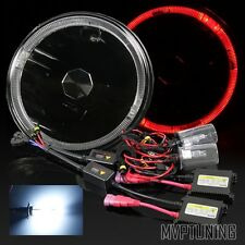 "7"" Round Black Housing Red LED Halo Projector Headlights Conversion/8000K HID"