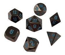 Shiny Black Color and Blue Number- Metal Polyhedral RPG Dice Set of 7 Dice