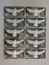 LOT of 10 - 5 GRAM 999 SILVER BARS - MONARCH PRECIOUS METALS FRACTIONAL EAGLE