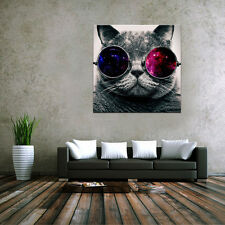 HD Canvas Prints Home Decor wall art Painting Picture Glasses Cat +Wood Frame