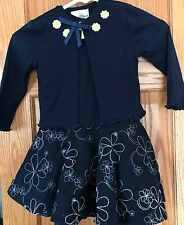 RARE EDITIONS Navy Floral SPRING Dress.....Girls Size 4T~EASTER DRESS:)