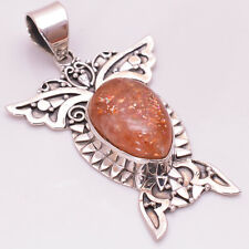 925 Solid Sterling Silver Pendant, Natural Sun Stone Handcrafted Jewelry CP248