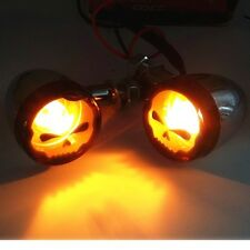 Skull Metal Turn Signal Indicator Lights Motorcycle For Honda Fury Sabre Shadow