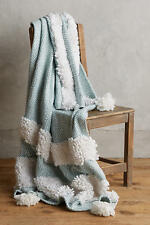 New Anthropologie Looped Tuva Light Blue And White Throw Blanket 50x70