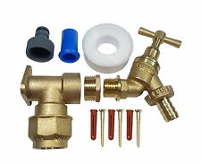 25mm MDPE Outside Tap Kit With Brass Wall Plate & Garden Hose Fitting
