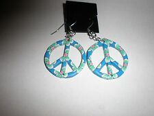 Blue with green flower design fimo clay peace sign earrings-wires