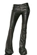 GORGEOUS NEW $5,020 BLACK BALMAIN FLARED LEATHER PANTS (NWT)