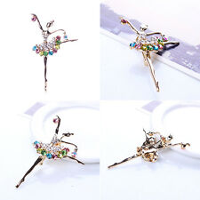 Fashion Ballerina Ballet Dancer Girl Full Colourful Crystal Cute Angle Brooches