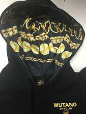 Wu Wear Wutang Supreme Shaolin Temple Hoodie Black Size M Gold Chains Hiphop