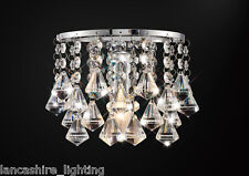 * SALE * Single Wall Light In Chrome With Stunning Crystal Prism Droplets 1x60W