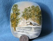 Russian hand pained trinket LACQUER Box FEDOSKINO GUSACK signed Papier Mache