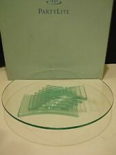 Partylite stratus 3 wick candle holder stand green glass pedestal cake stand