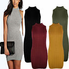 Womens Ladies Polo Neck KNITTED Ribbed SLEEVELESS Bodycon JUMPER DRESS lot w1