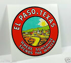 El Paso Texas Vintage Style Travel Decal / Vinyl Sticker, Luggage Label