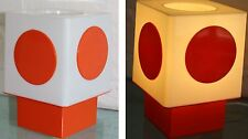 Vintage 60s Eames Panton Era MOD Orange White PLASTIC Geometric CUBE Table LAMP