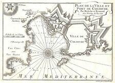 Antique map, Plan de la Ville et Port de Colioure