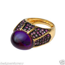 Kenneth Jay Lane gold/saphire/amethyst ring w/ cabochon amethyst adjustable size