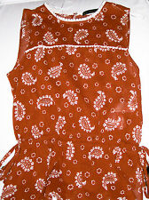 Zara Basic Brown Paisley print sleeveless cotton Top Size S Brand New Tags BNWT
