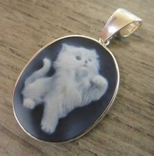medium sized kitty cat carved agate cameo and .925 sterling silver pendant