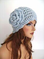 SILVER BLUE CLOUD BLUE FLOWER BEANIE CAP HAT HAND CROCHET BERET SKULL CAP CLOCHE