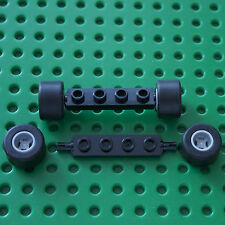 LEGO :2 Black 1 x 4 Axle Plate - 2926, & 4 wheels & tyres 74967 & 30028.City.