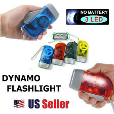 Hand Press 10 Lumens No Battery Dynamo Crank Wind 3 LED Flashlight Torch NEW