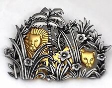 J.J. Jonette Brooch Pin Lions In Jungle Pewter and Goldtone Vintage 2.5 Inches
