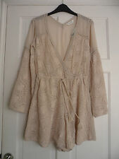 MISS SELFRIDGE - Stunning Boho Deep Cream  Embroderied  Playsuit Size 16 bnwts