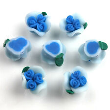 200pcs 15mm Skyblue Three Buds Rose Flower FIMO Polymer Clay Spacer Beads Lots D