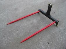 "3 Point Double Hay Bale Spear Attachment 2x49"" Prongs CAT 1-2  4000#"