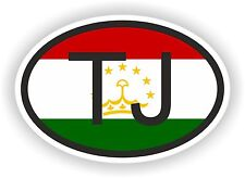 TJ TAJIKISTAN COUNTRY CODE OVAL WITH FLAG STICKER bumper decal car bike tablet