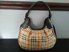 Burberry Haymarket Check Tote Shoulder Handbag Brown Calf Leather Trim