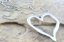 Large abstract metal heart pendant on long chain necklace silver lagenlook