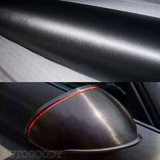 "12"" x 60"" Black Brushed Aluminum Vinyl Film Wrap Sticker Decal Air Bubble Free"