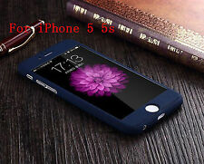 FOR APPLE iPHONE 5 5S FULL PROTECTION 360 RUBBRIZED MATTE FRONT BACK COVER CASE