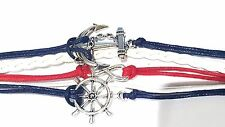 Infinity Red, White & Blue Anchor Wheel Bracelet Antique Silver Color Charm