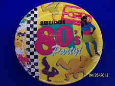 """80's Decades Totally Awesome Bright Theme Retro Birthday Party 9"""" Dinner Plates"""