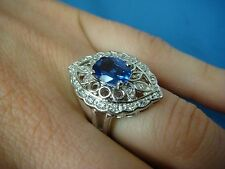 14K WHITE GOLD, GENUINE TANZANITE AND DIAMONDS LADIES  COCKTAIL RING