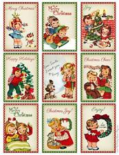 9 CHRISTMAS CHILDREN RETRO - THICK 155 # SCRAPBOOK PAPER CRAFT CARD TAG GIFT