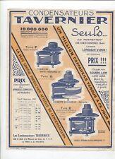 N°9435 /  prospectus condensateurs TAVERNIER Paris-toulouse 1927