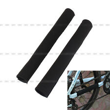 2 Pcs Cycling Bicycle Bike Frame Chain Stay Protector Guard Pad Cover Wrap Black