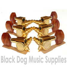 Full set of quality guitar machine heads in gold with brown pearl keys 3+3