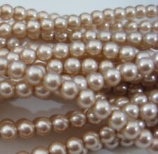 100  Pink Rose Czech Glass Round Pearl Beads 4 mm crafts - No. 61801