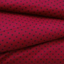 "46"" Wide Red Cotton Polka Dot Printed Dressmaking Fabric For Quilting By Metre"