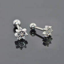 1Pair Stainless Steel CZ Flower Earring Ear Stud Cartilage Helix Tragus Piercing