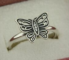Authentic Pandora 190901CZ-52 Love Takes Flight Size 6 Butterfly Sterling Ring