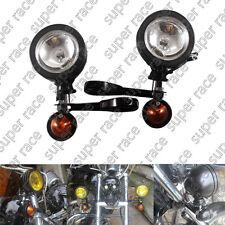 39mm Black Fog Lights Turn Signal Light Lighting Kits For Harley Dyna Sportster