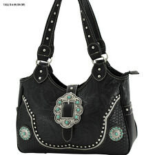 TB 965 BLACK WESTERN CONCHO CROSS RHINESTONE WESTERN HANDBAG BLING  COWGIRL BAG